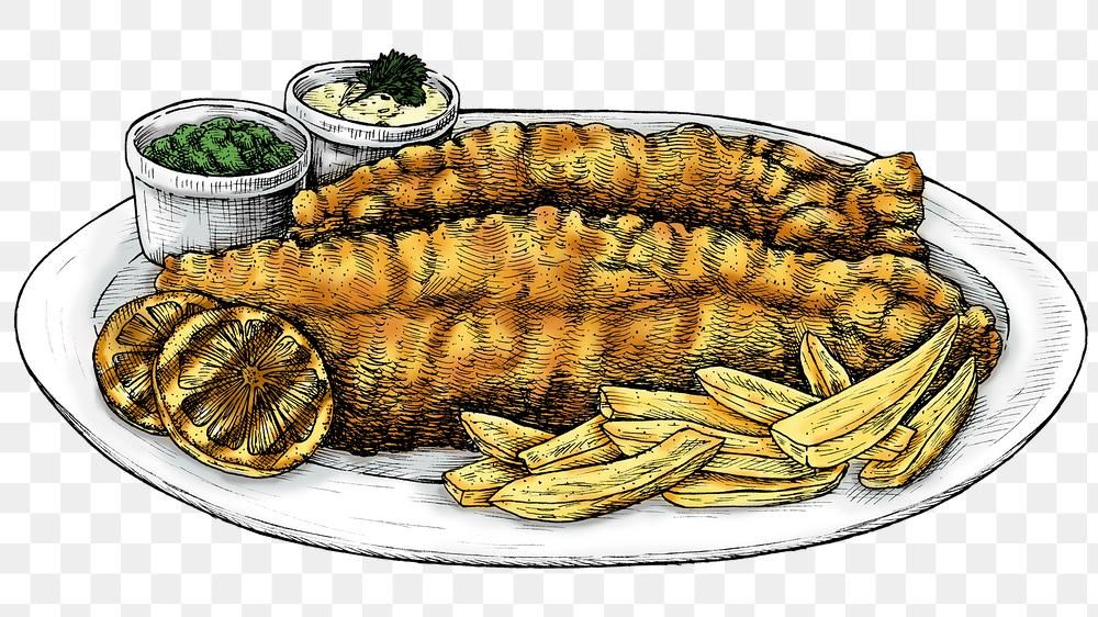 Download Premium Png Of Colorful Png Fish And Chips Transparent 2764270 Fish And Chips How To Draw Hands Drawn Fish