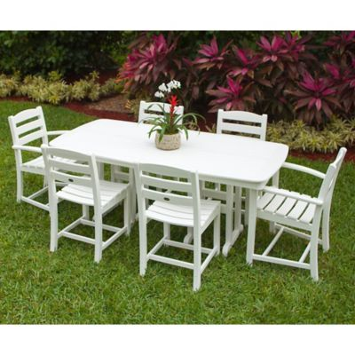 Polywood La Casa 7 Piece Outdoor Dining Set In White Outdoor