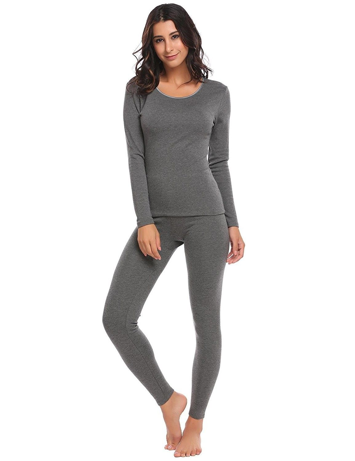 dbef42b95333 Women's Clothing, Lingerie, Sleep & Lounge, Thermal Underwear,Womens  Thermal 2 Pcs Underwear Set Soft Top and Bottom Pajama S-XXXL -  Midweight-grey ...