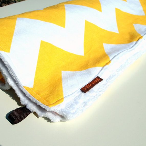 chevron baby blanket minky yellow white by 3littlerascals on Etsy, $40.00