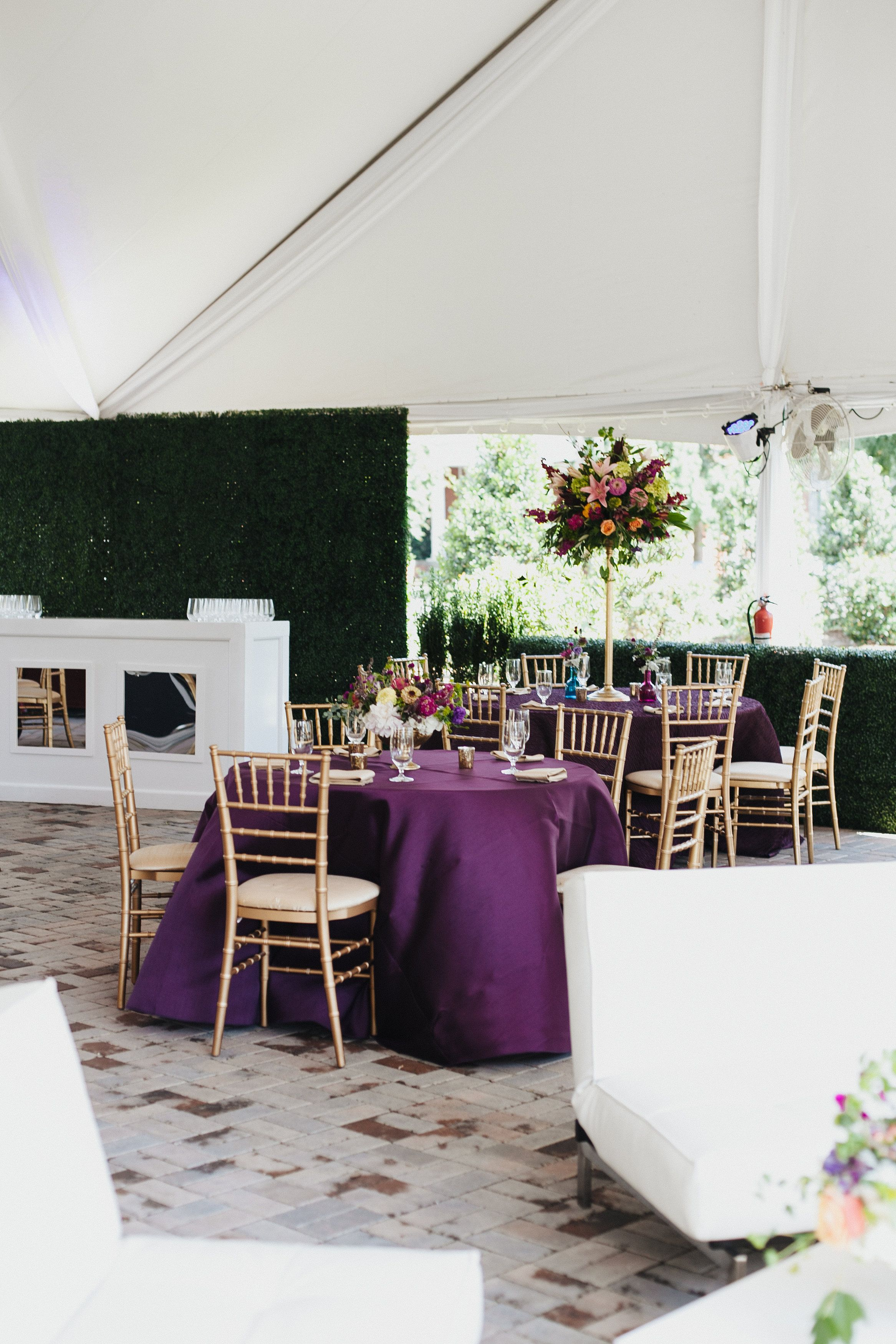 Merrimon Wynne House Wedding - Purple Table Decor - Brett & Jessica Photography - NC Wedding Planner Orangerie Events