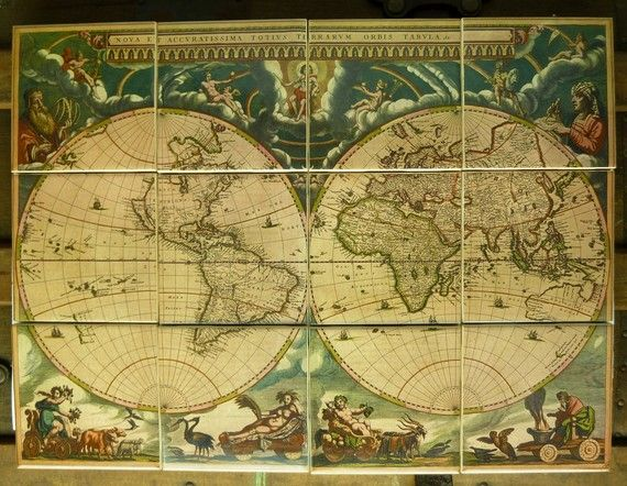 World Map Mural (c1660) on kiln-fired tiles archaeology - new antique world map images