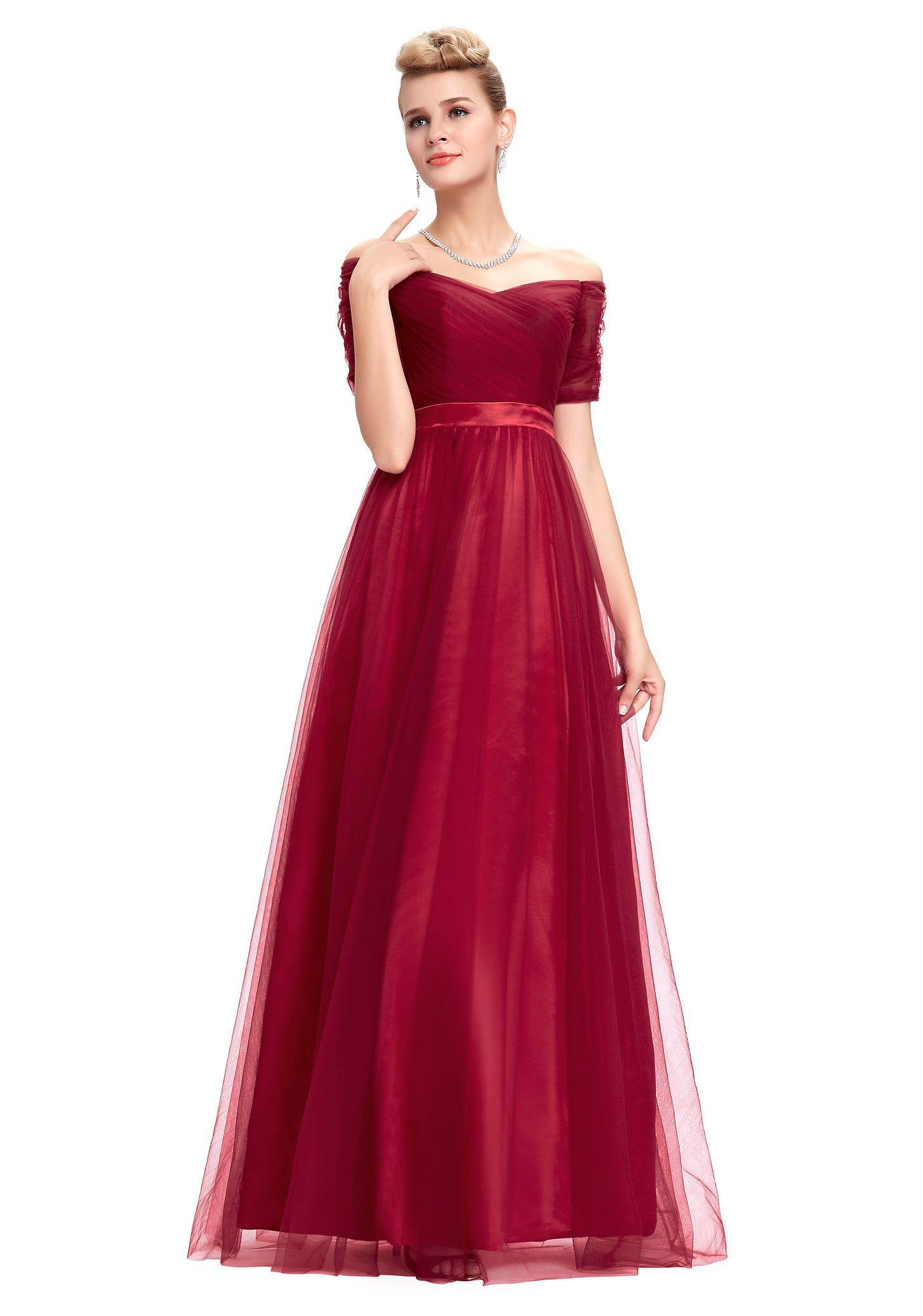 Schulterfreies, langes Abendkleid in Rot mit kurzen Ärmeln ...