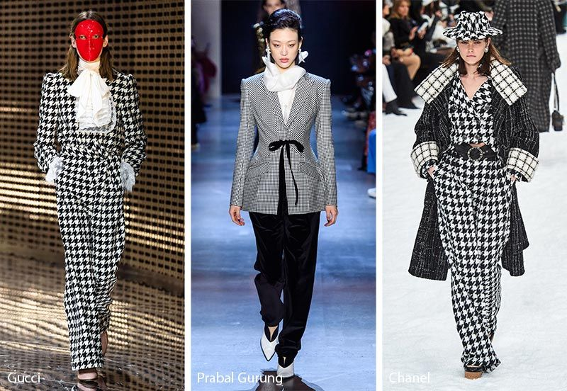 Chanel, Gucci and prada  hounds tooth Fashion trends for 2020
