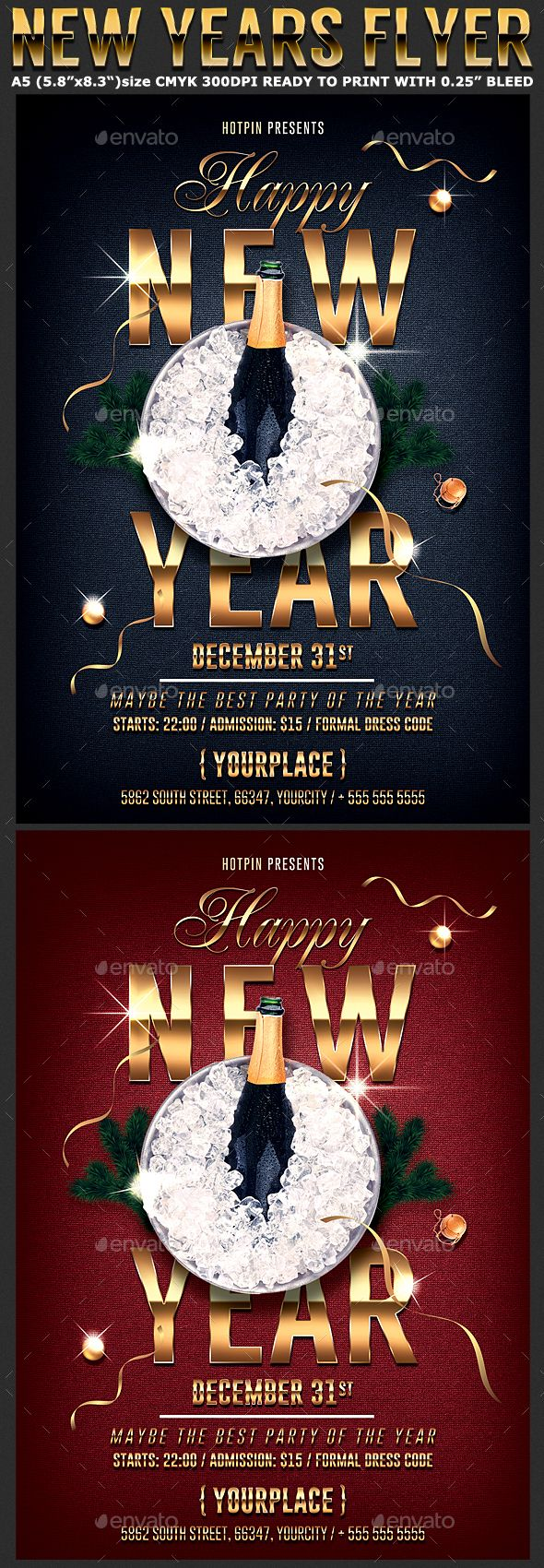 Classy New Year Flyer Template  Flyer Template Party Flyer And