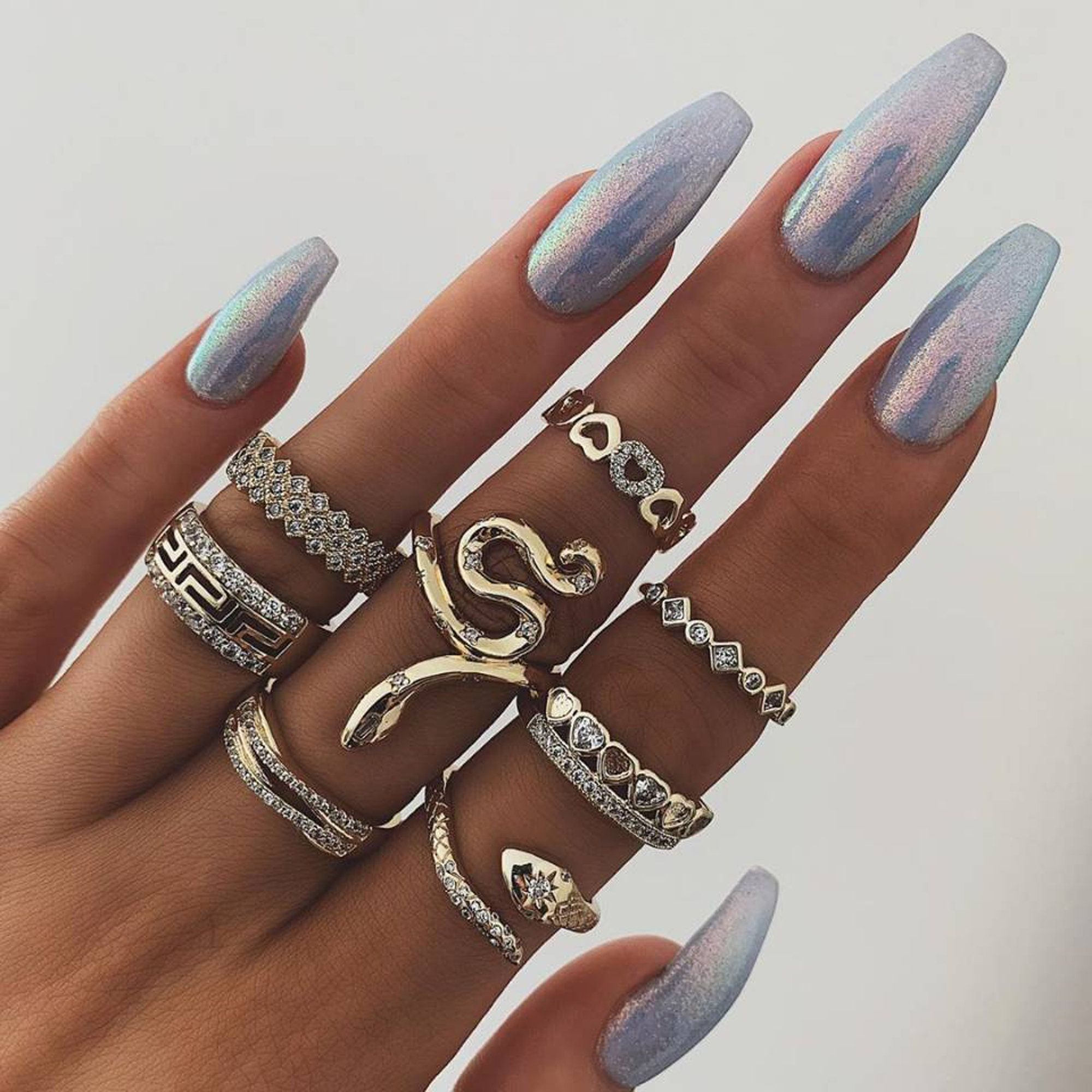 11 Piece Unique Rings Gold Snake Boho Ring Set Bohemian Ring Set Bohemian Stack Ring Set Midi Ring Set Beach Jewelry Boho Stackable Ring Set