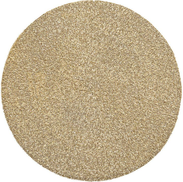 Kim Seybert Unigold Round Metal Beaded Placemat Gold Placemats Placemats Kim Seybert