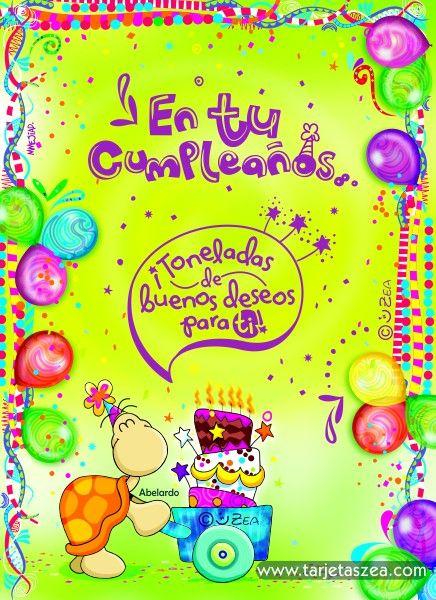 Tortuga Abelardo empujando un pastel en una carreta u00a9 ZEA www tarjetaszea com FELIZ CUMPLEA u00d1OS