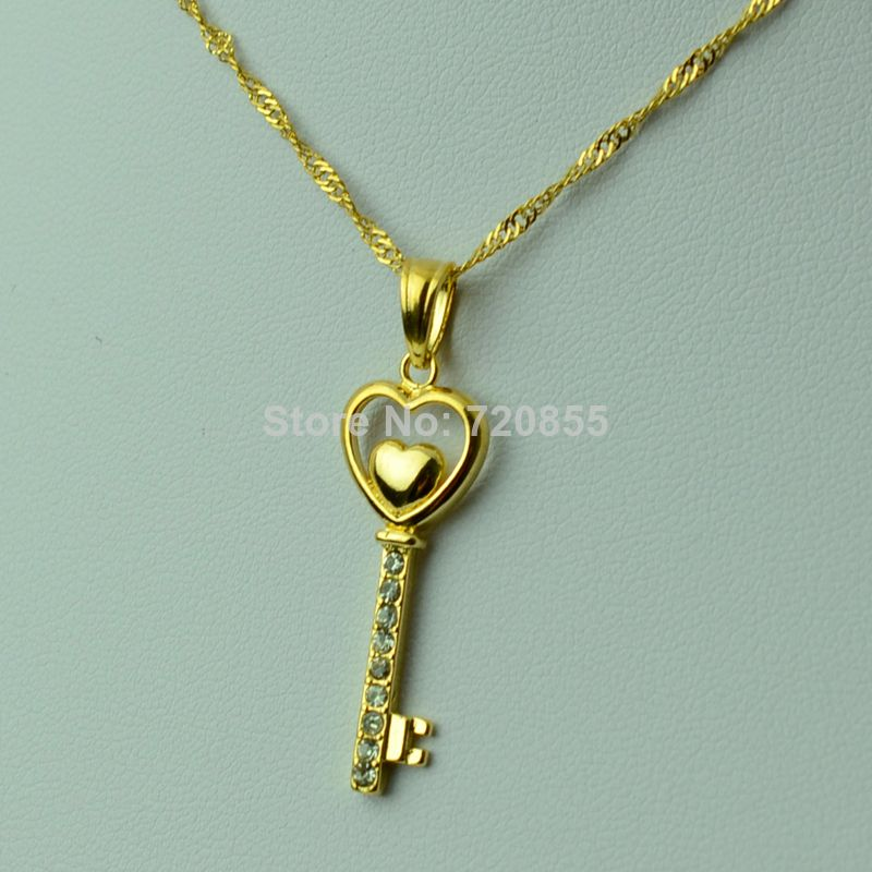 Love Key 18k Pendants & Necklaces Chain Yellow Gold Plated W