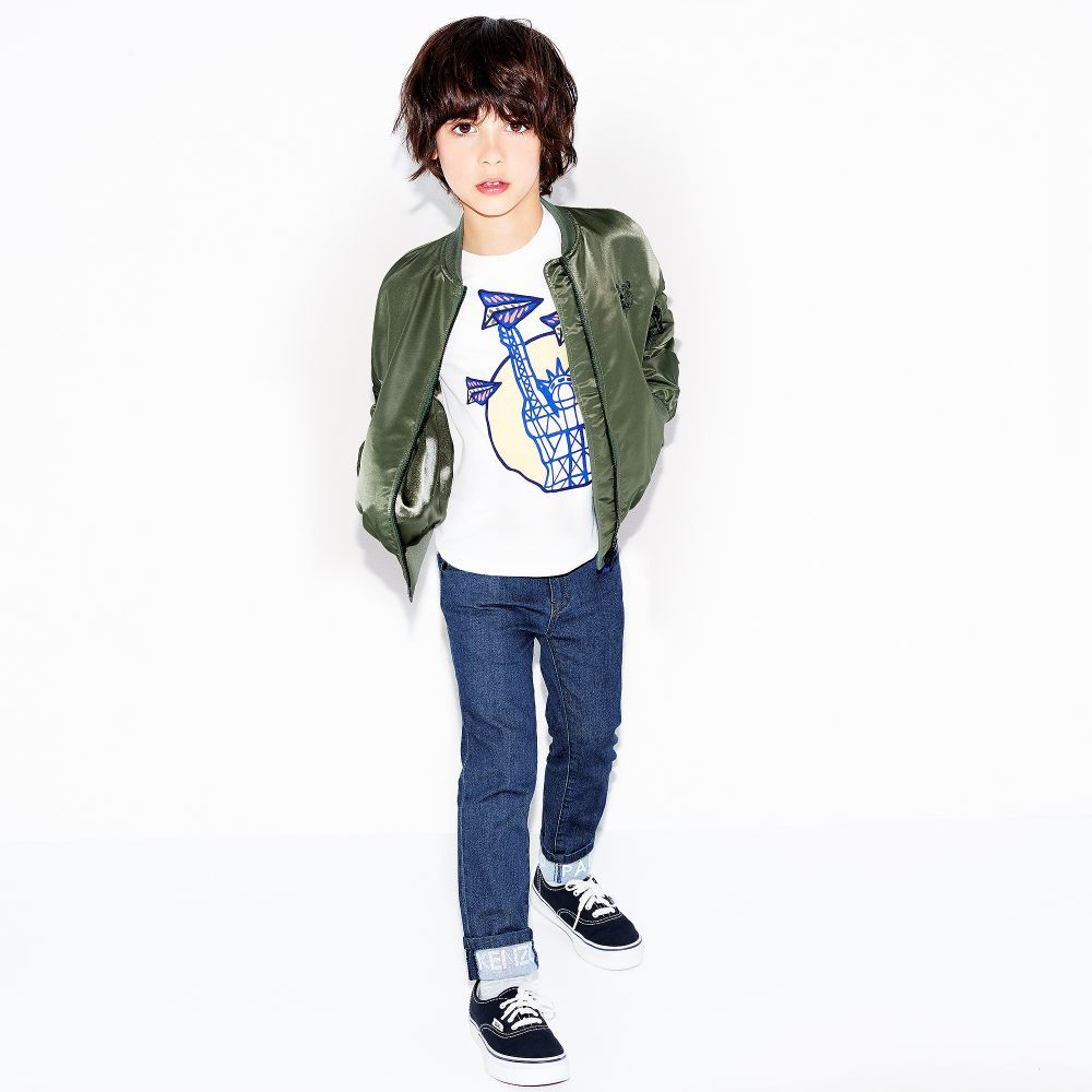 d4a00a144 Kenzo Kids - Boys Khaki Green Bomber Jacket     LOOKBOOK GIRLS BOYS ...