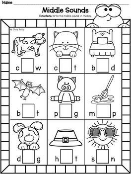 Phonics Worksheets: Missing Letters (Beginning, Middle
