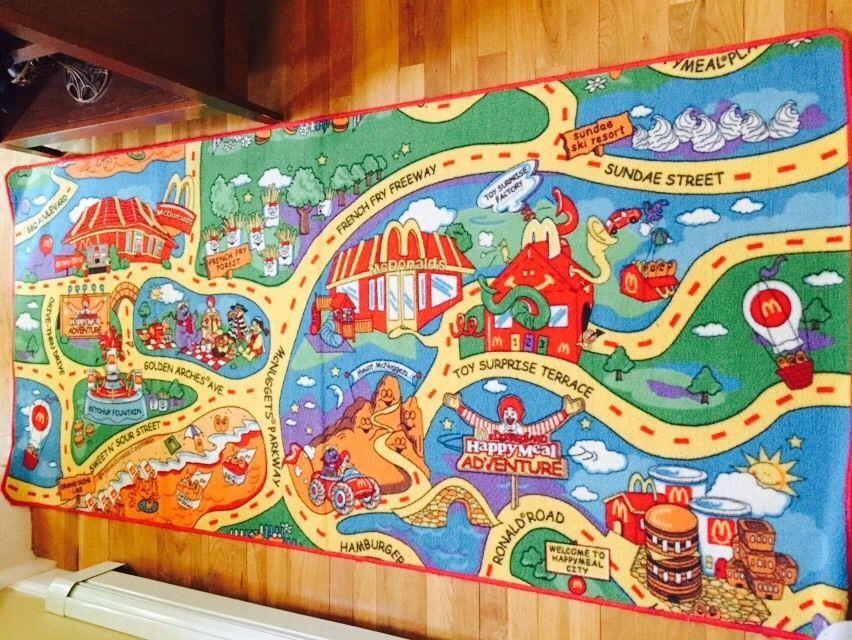 6' McDonaldland McDonalds Toy Car Rug Carpet RARE Happy Meal Vintage Play | eBay