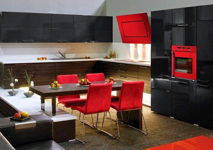 Diseño de Cocinas en colores Rojo y Negro | cozinha | Pinterest ...