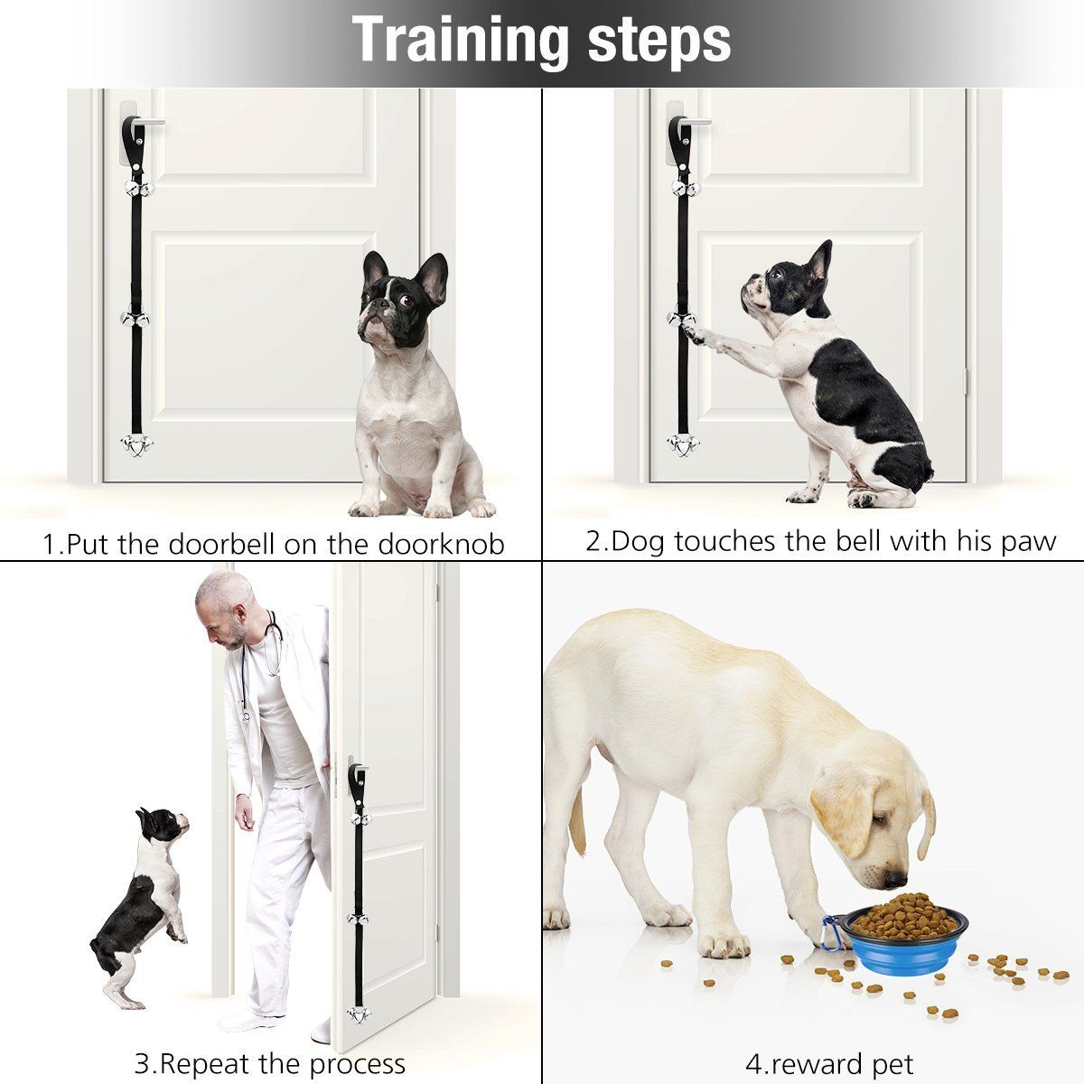 Manfiter Dog Doorbell For Dog Training With Collapsible Dog Bowl