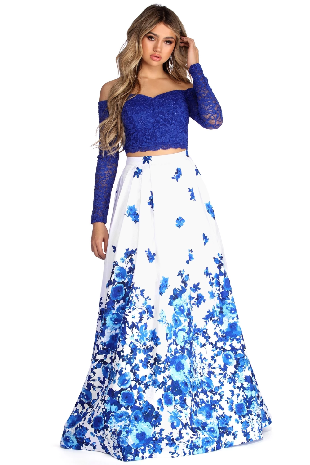 Aline Formal Floral Two Piece Dress In 2021 Piece Dress Floral Prom Dresses Two Piece Dress [ 1498 x 1000 Pixel ]