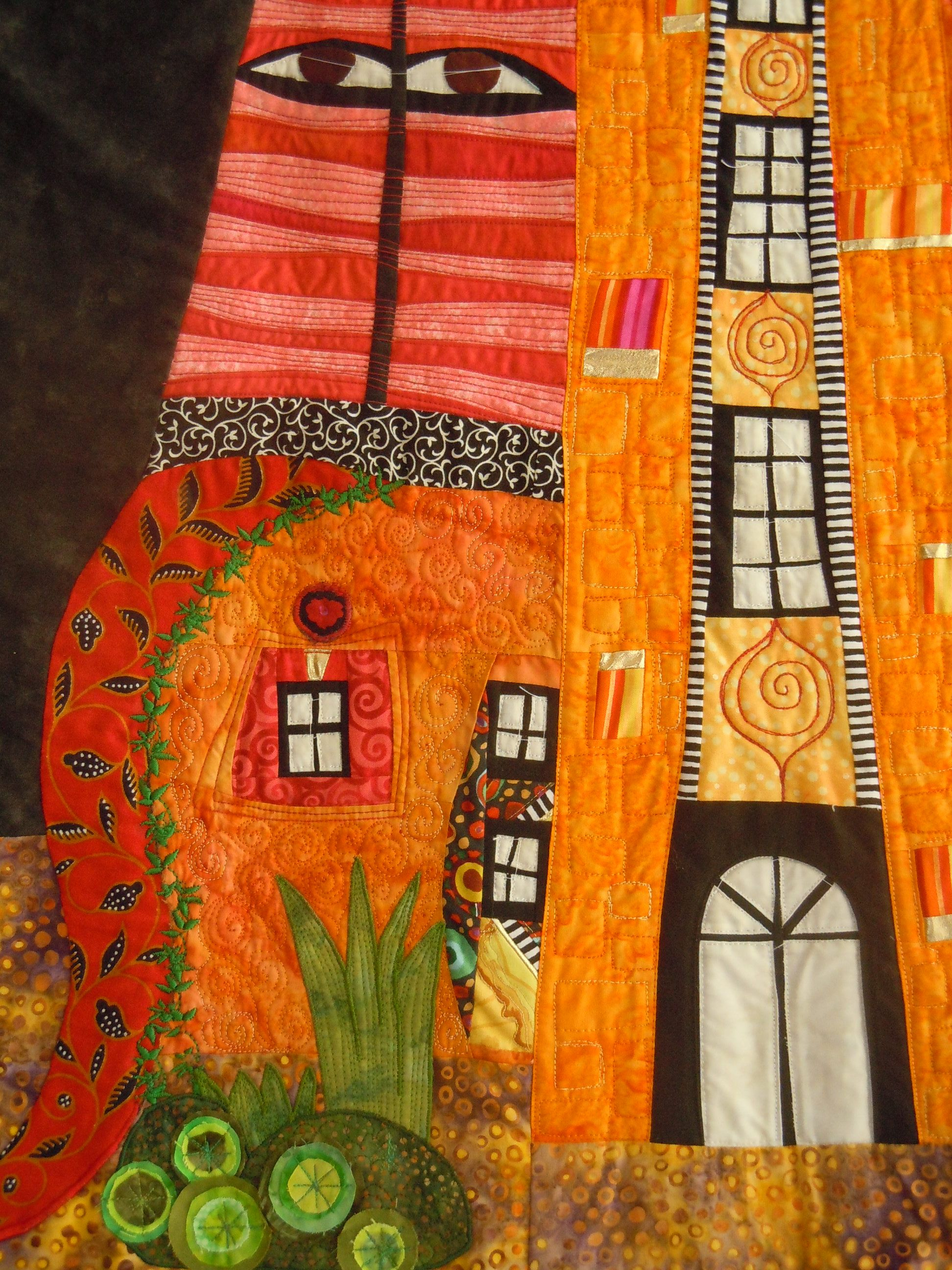 Detail hundertwasser haus eigene quilts quilten hundertwasser und patchwork - Wandbilder aus stoff ...