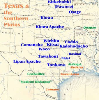 Map of the Tribes of Texas | Map, Texas, American indians Teritory Map Of Pawnee on