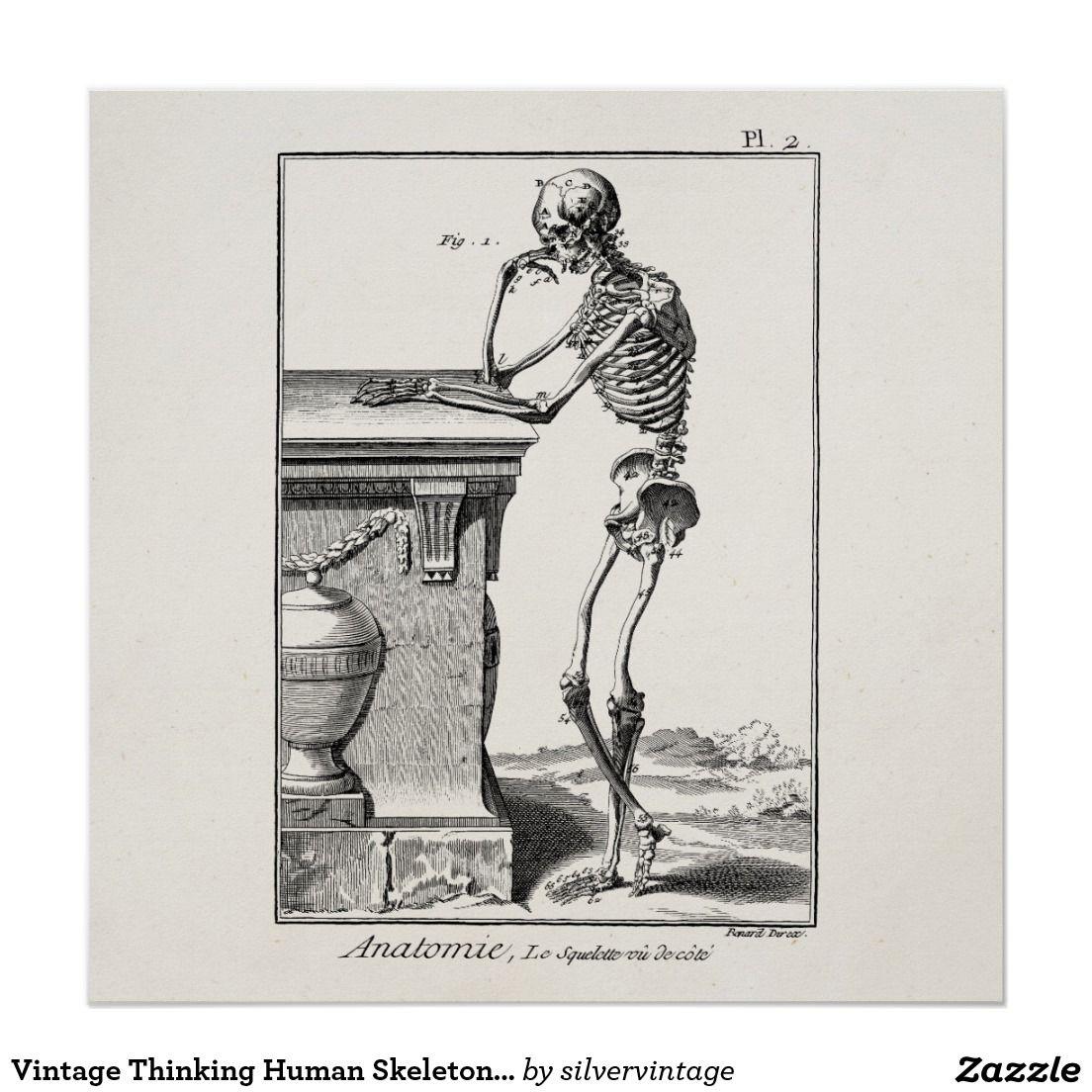 Vintage Thinking Human Skeleton Medical Anatomy Poster | Art | Pinterest