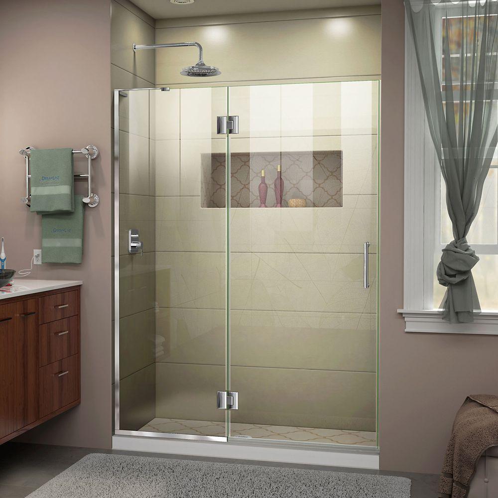 Unidoor X 52 Inch W X 72 Inch H Frameless Hinged Shower Door In