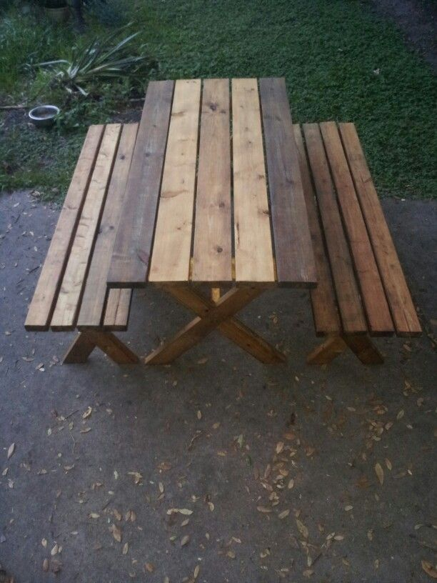 x farmhouse style cross leg picnic table and benches extra wide
