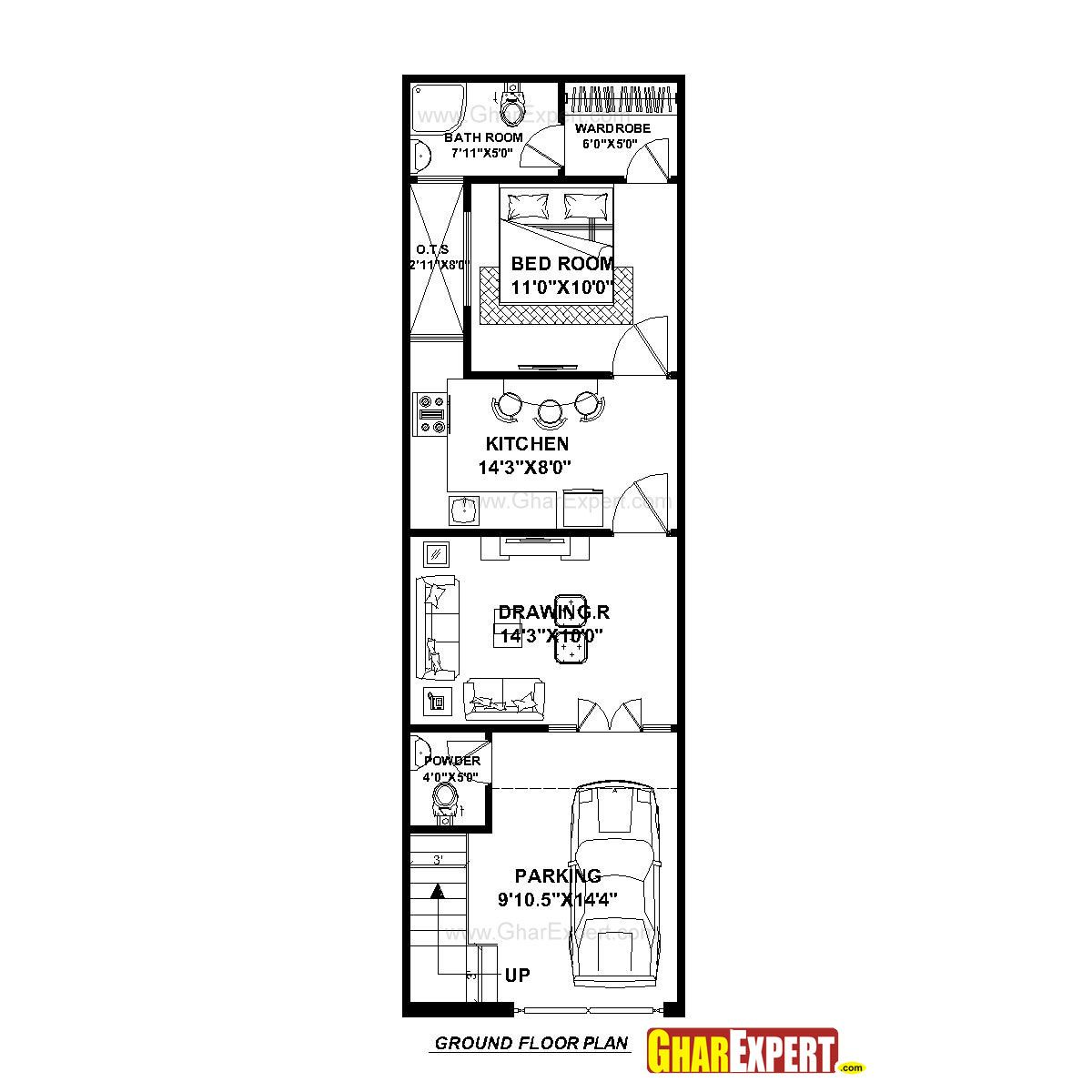 medium resolution of house plan for 15 feet by 50 feet plot plot size 83 square yards gharexpert com