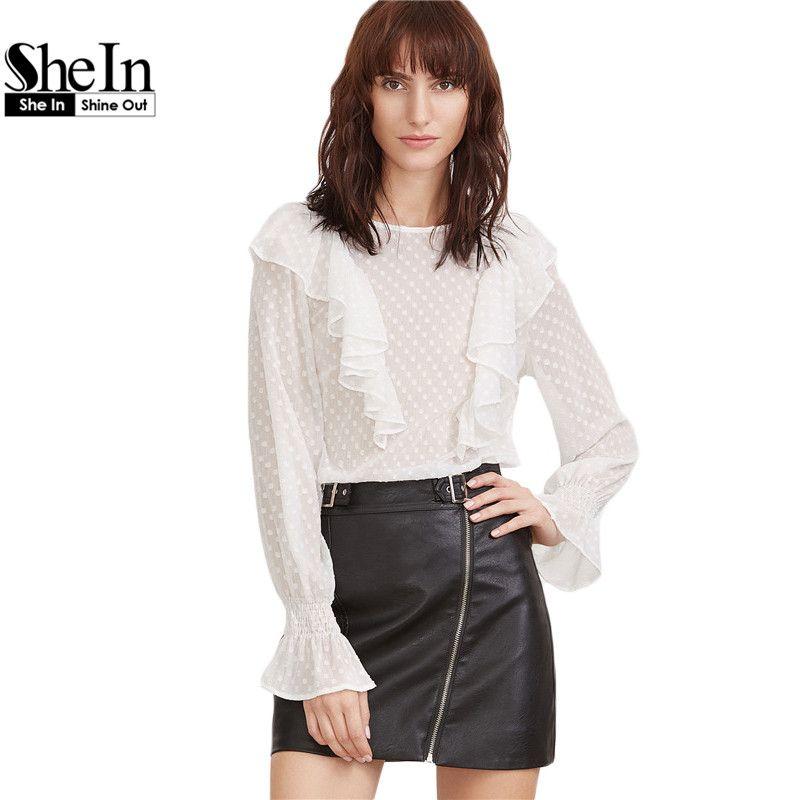 57e9a2f59da99f SheIn Elegant Womens Clothes Long Sleeve Shirt Women Tops for Women White Ruffle  Trim Bell Cuff Dot Jacquard Top