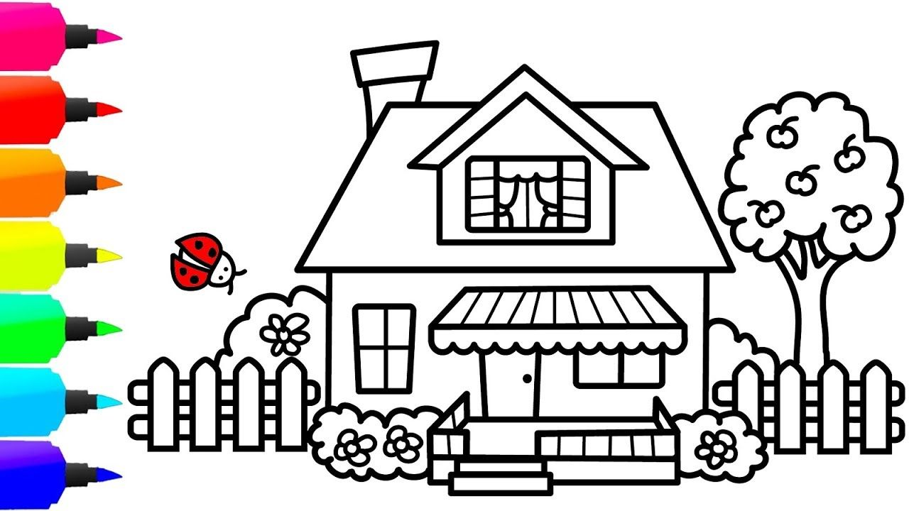 How To Draw A Colorful House For Kids Cute House Coloring Page