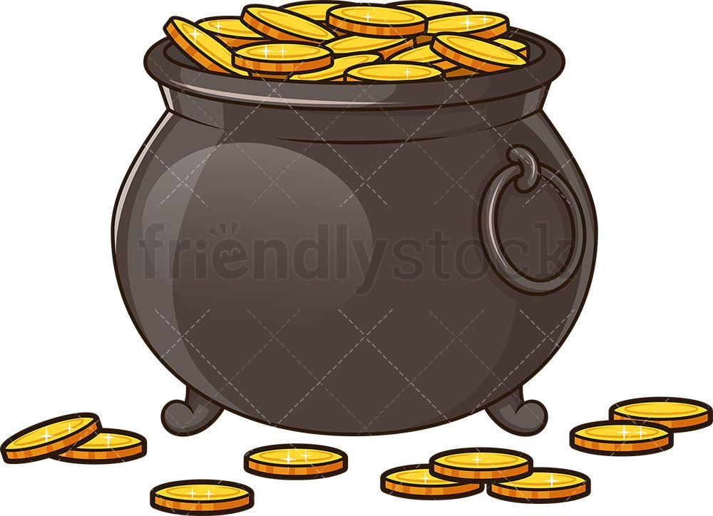 Pot Of Gold Cartoon Vector Clipart Friendlystock In 2020 Pot Of Gold Cartoon Clip Art Cartoons Vector