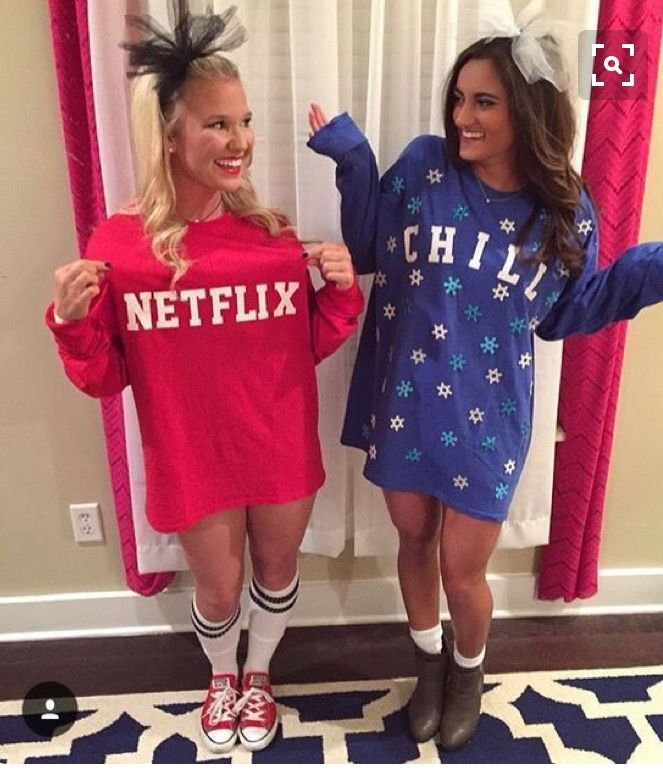 Halloween Costume Ideas For Teenage Girl 2019.Netflix And Chill Friend Costume Bff Goals In 2019 Popular