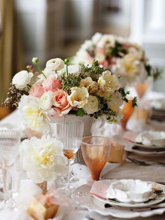 Lovely Cream & apricot flowers centerpiece