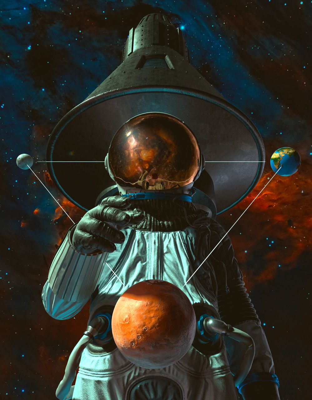 Artstation Jesus Bibian Jr S Submission On Adobe Dimension From The Moon To Mars Celebrating Apollo S 50th Anniversa Space Art Space Artwork Astronaut Art