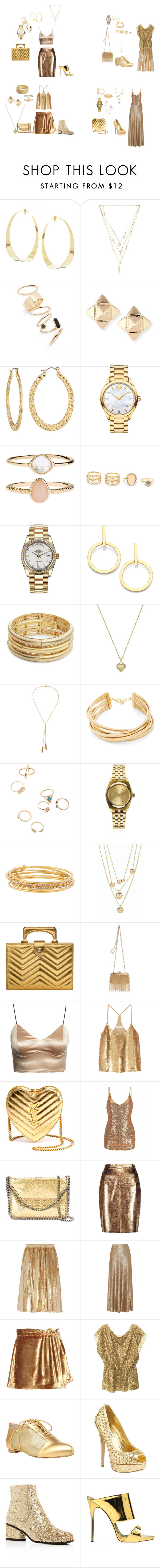 """""""Gold gold gold and more gold"""" by tori-holbrook-th ❤ liked on Polyvore featuring Lana, Ettika, BP., Valentino, Fragments, Movado, Accessorize, LULUS, Rolex and Vita Fede"""