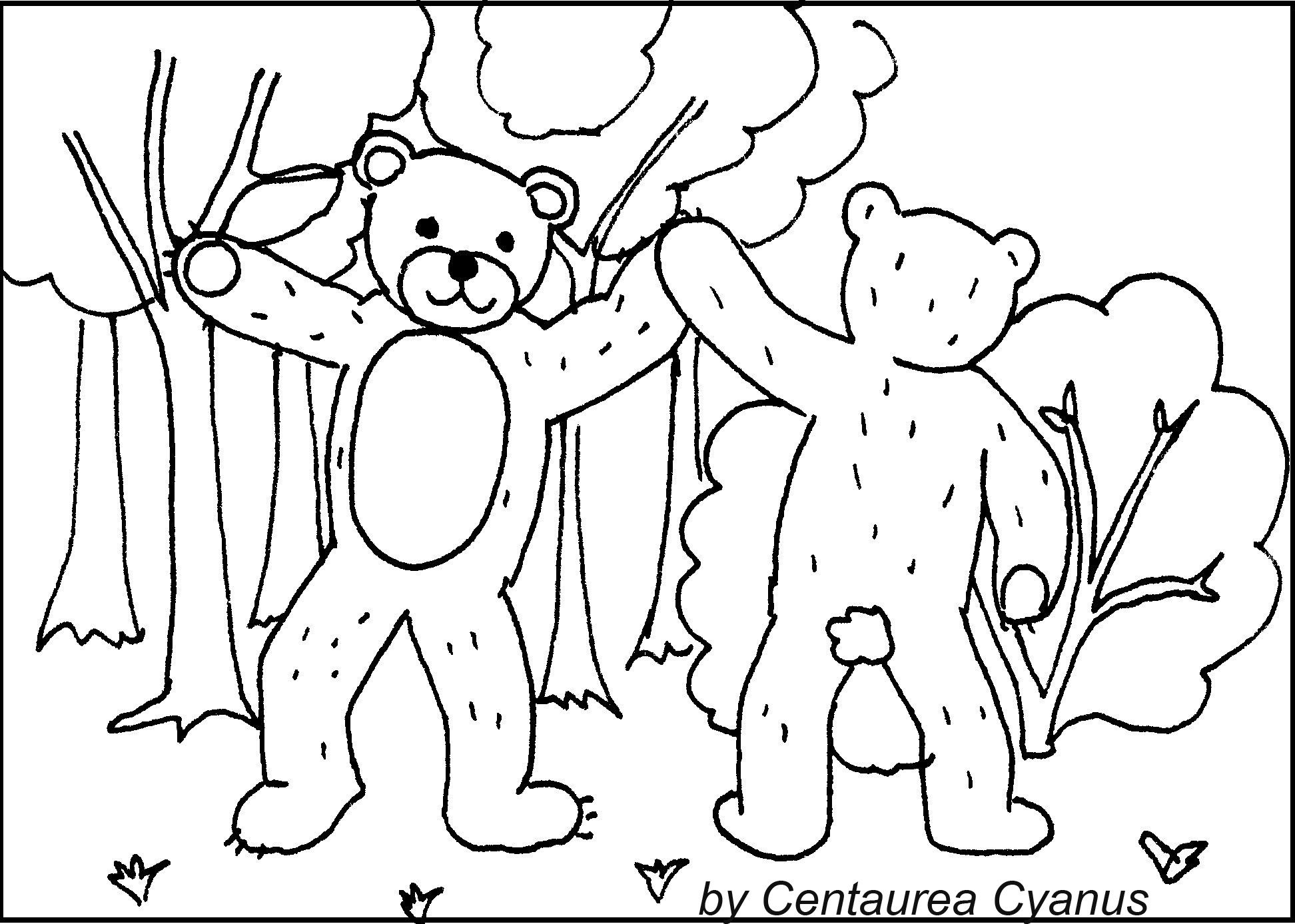 Free Coloring Page By Centaurea Cyanus Dancing Bears Two