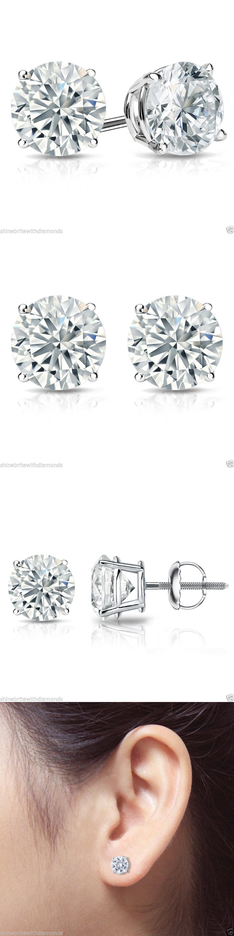 Diamond 10986: 2 Ct Round Earrings Studs Solid 14K White Gold Brilliant Cut Basket Screw Back BUY IT NOW ONLY: $139.95