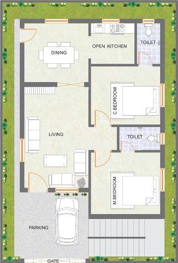 9343simplex house design ground 25x45 casas for 1000 sq ft 2bhk house plans