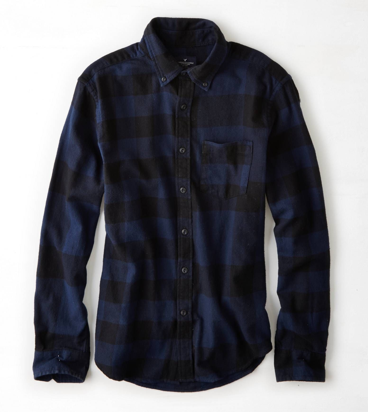 Flannel under shirt  AEO Menus Pieced Plaid Flannel Button Down Shirt Navy for only