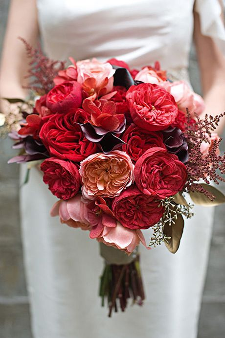 love this red purple and pink wedding bouquet of graded roses but with berries not spindly filler photography by continuum photography modern urban - Red Garden Rose Bouquet