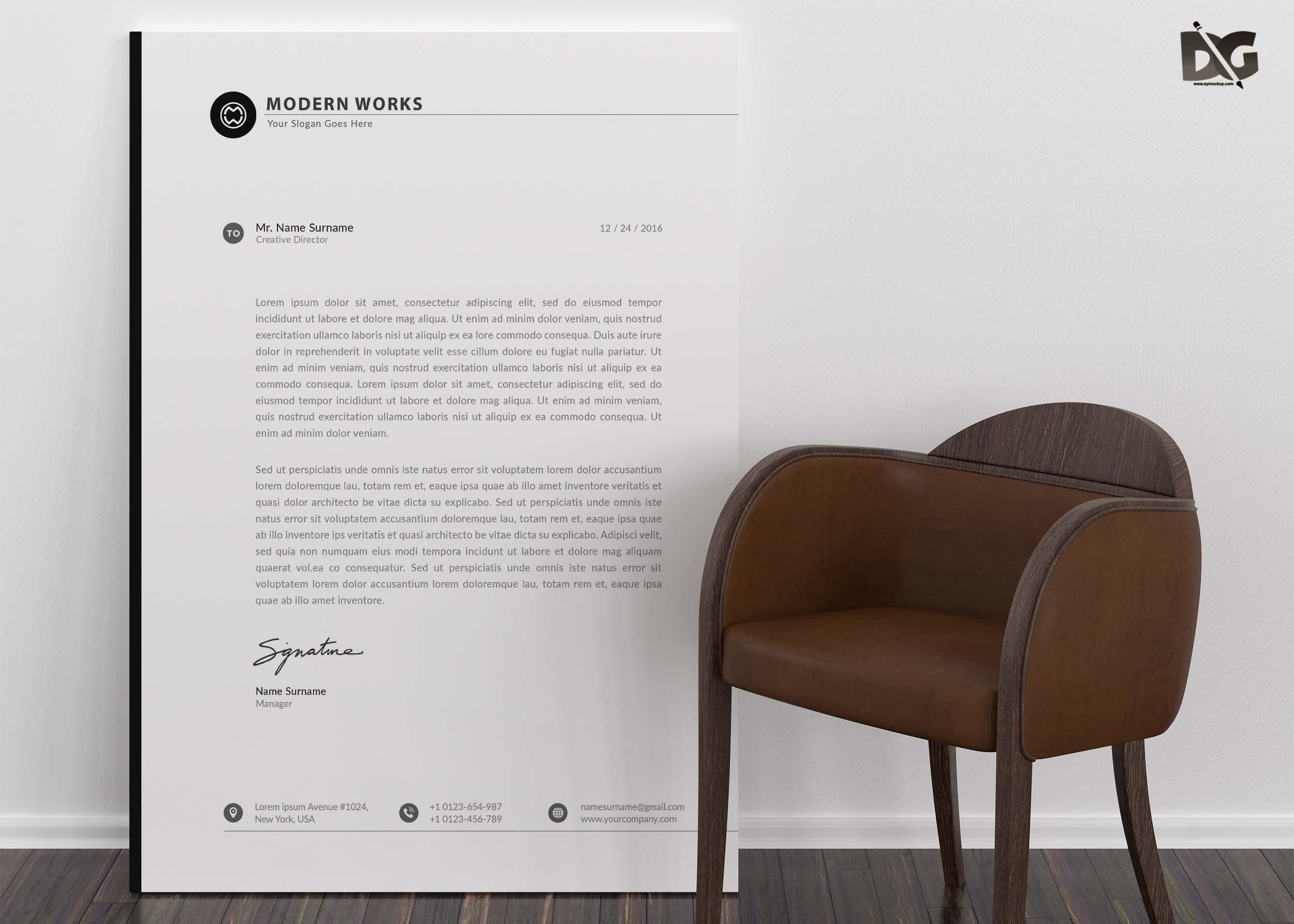 Free Download Agency Letter Head PSD Template Letterhead