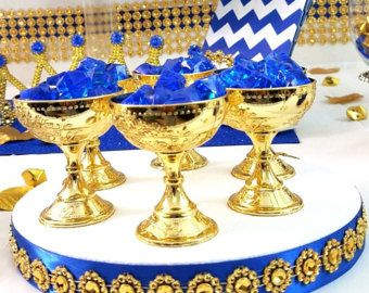 Perfect 12 Royal Prince Baby Shower Favor Heart Carriages / Perfect For Boys ROYAL  BLUE And GOLD Baby Shower Theme And Royal Prince Decorations