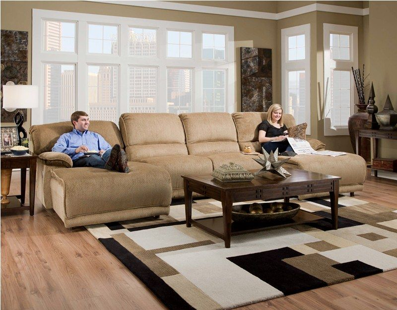 Catner Grandover Two Chaise Sectional Sofa Includes Lsf Reclining 2 Armless Chairs And A Rsf In Sandstone Color