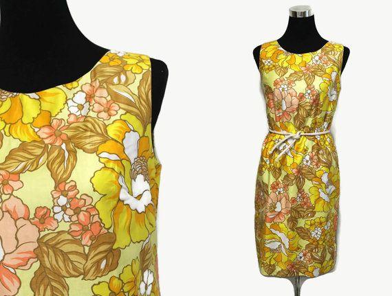 60s Shift Dress S / Floral Shift Dress Flower Power Dress / Mod Dress