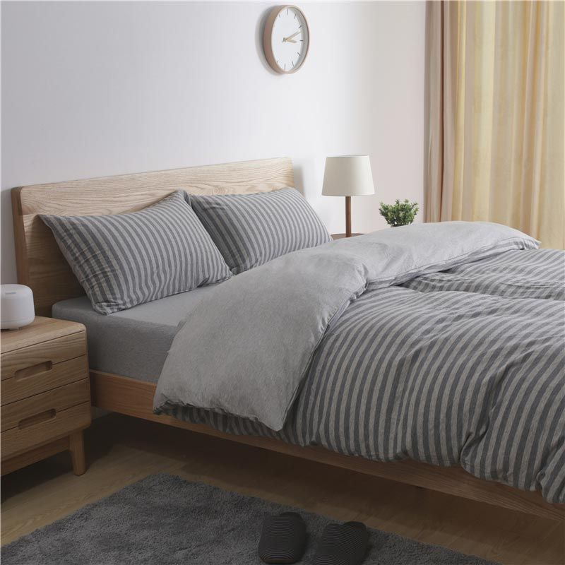 Photo of Nordic Simple Bedding Set Gray Stripes Cotton Bedclothes Anti Alle…