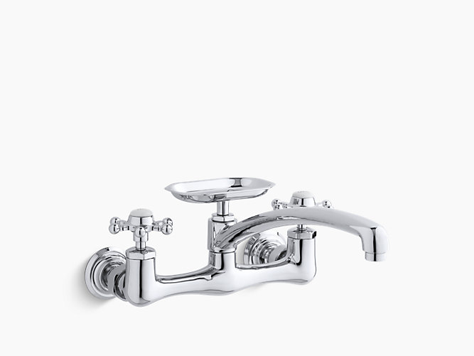 Antique Two Hole Wall Mount Kitchen Sink Faucet With 12 Spout Soap Dish And 6 Prong Handles In 2020 Kitchen Sink Faucets Wall Mounted Sink Sink Faucets