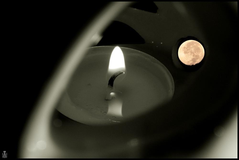 candle and moon by reklewski pawel