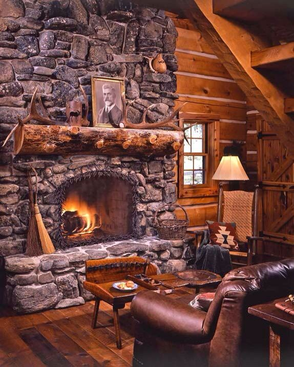 Tucked Inside The Cabin With A Fire And A Cozy Leather Chair Cabin Fireplace Log Homes Rustic Fireplaces