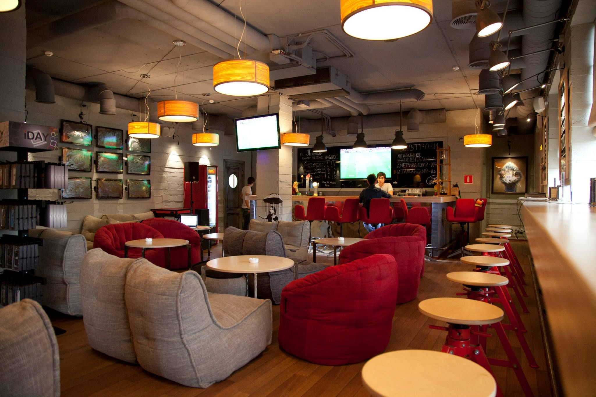 Contemporarycafe in moscow russia with ambient lounge for Muebles para bar lounge