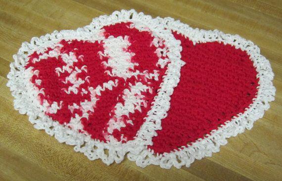 Crochet DishclothWashclothCotton DishclothsHeart by Kitkateden