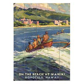 Ready-to-hang wood wall art with a Waikiki Beach motif.           Product: Wall art   Construction Material: Birch wood    Dimensions: 12 H x 9 W x 0.5 D