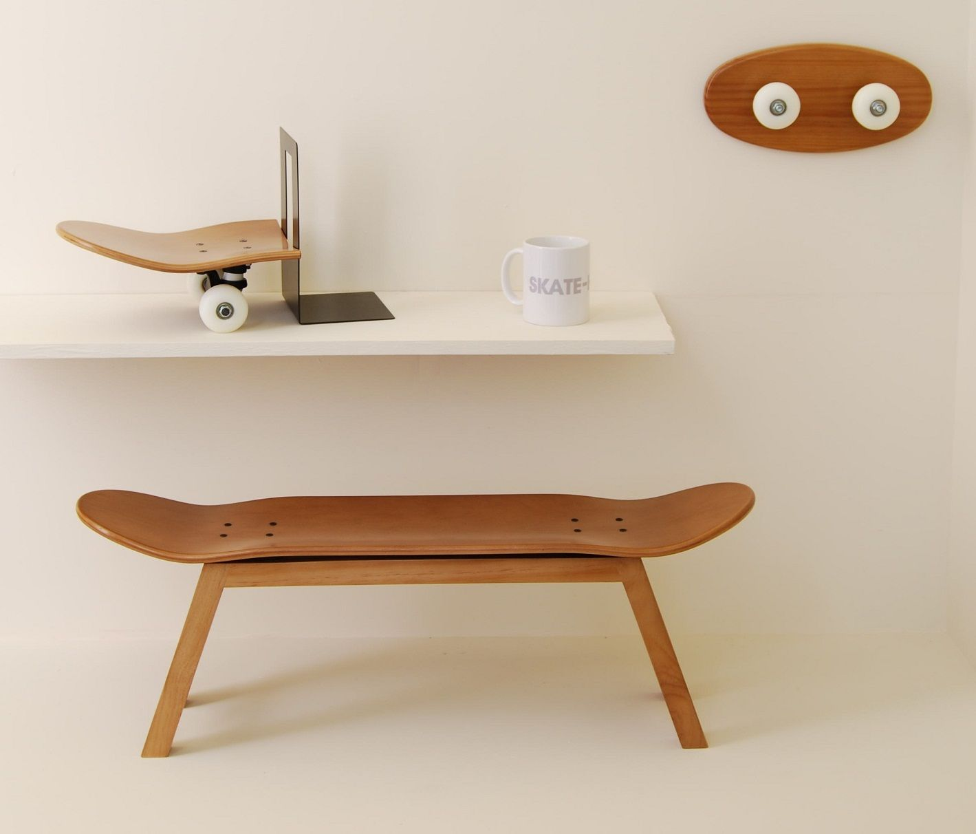 Skateboard Bedroom Furniture Box By Skate Home Honey Color Nollie Flip Stool Tail Stop Bookend