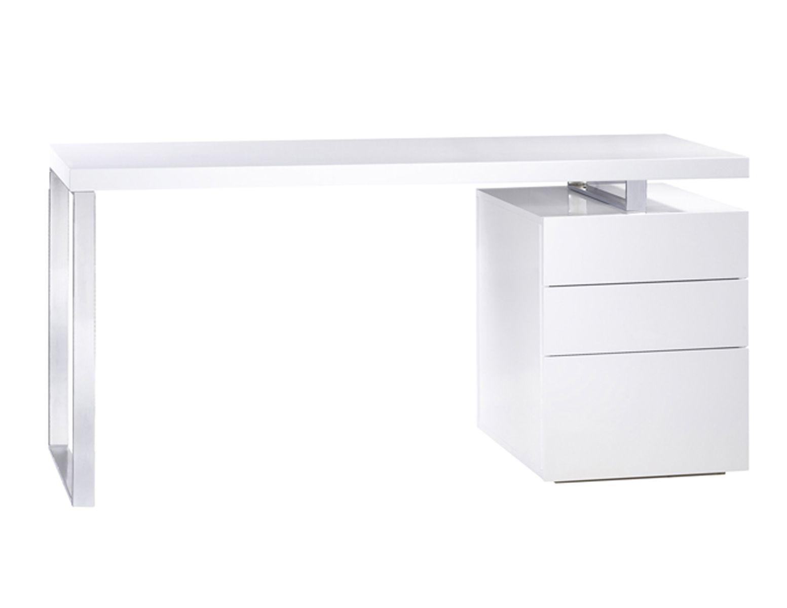Bureau Moderne Laque : Bureau blanc laqué avec rangements bureau informatique blanc